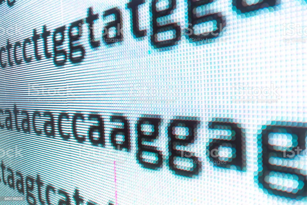 DNA sequence in large LED screen stock photo