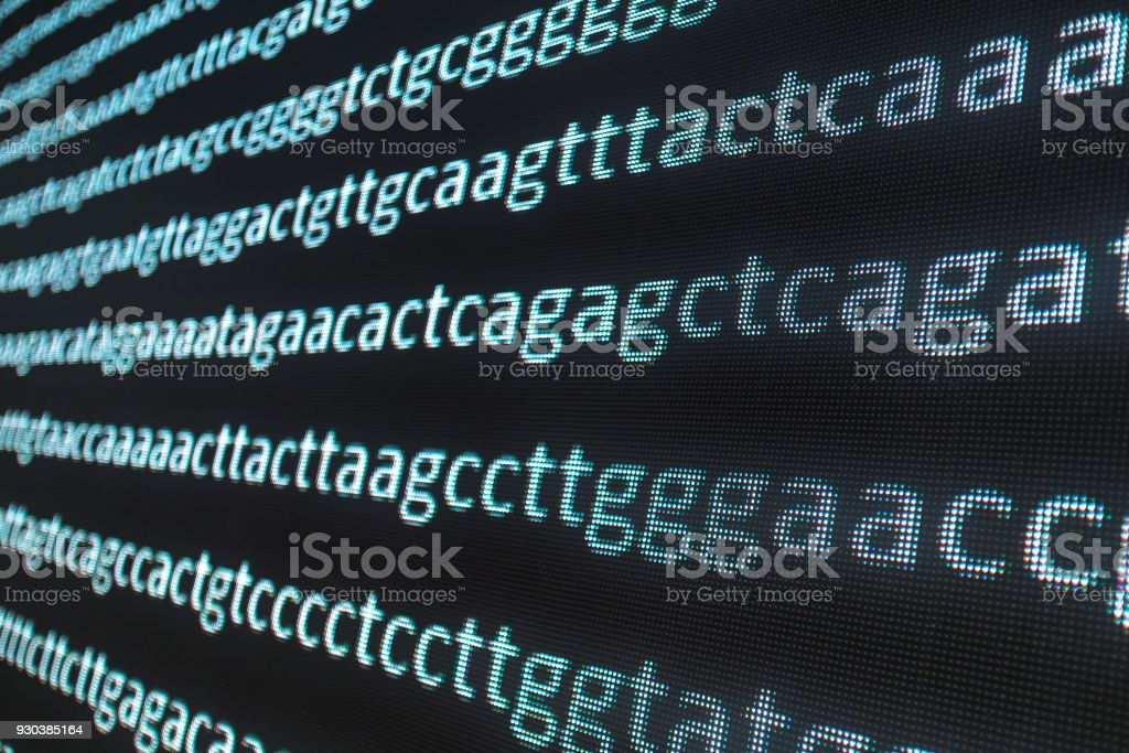 DNA sequence in the lare LED screen stock photo