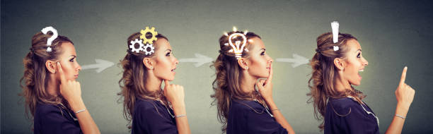 Sequence of a woman thoughtful, thinking, finding solution with gear mechanism, question, exclamation, lightbulb symbols. stock photo