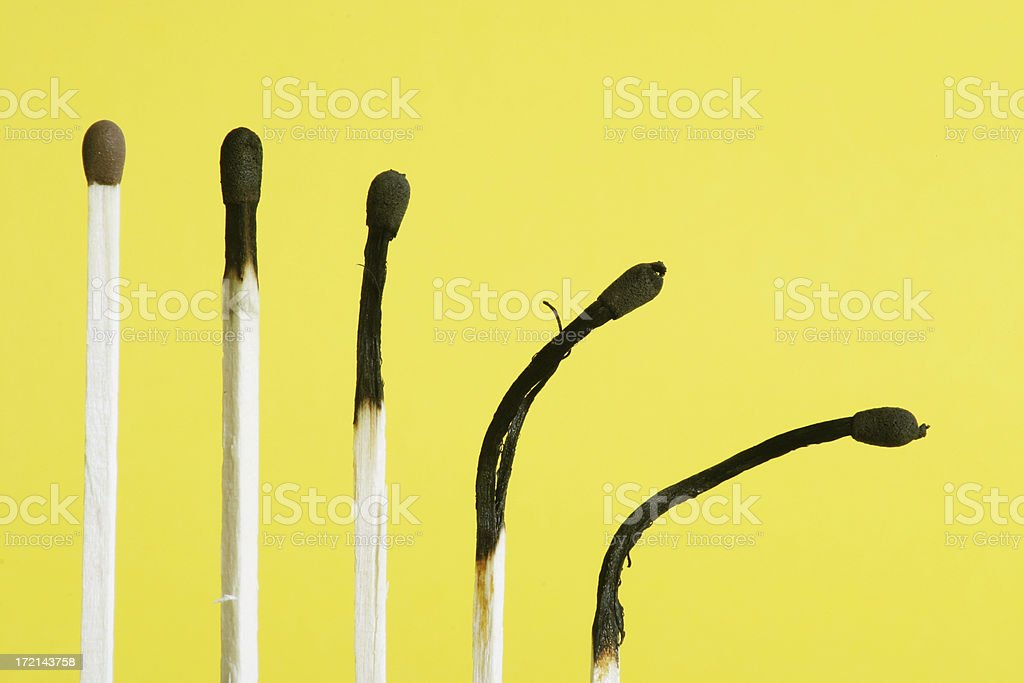 Sequence of Match Burning on Yellow Background royalty-free stock photo