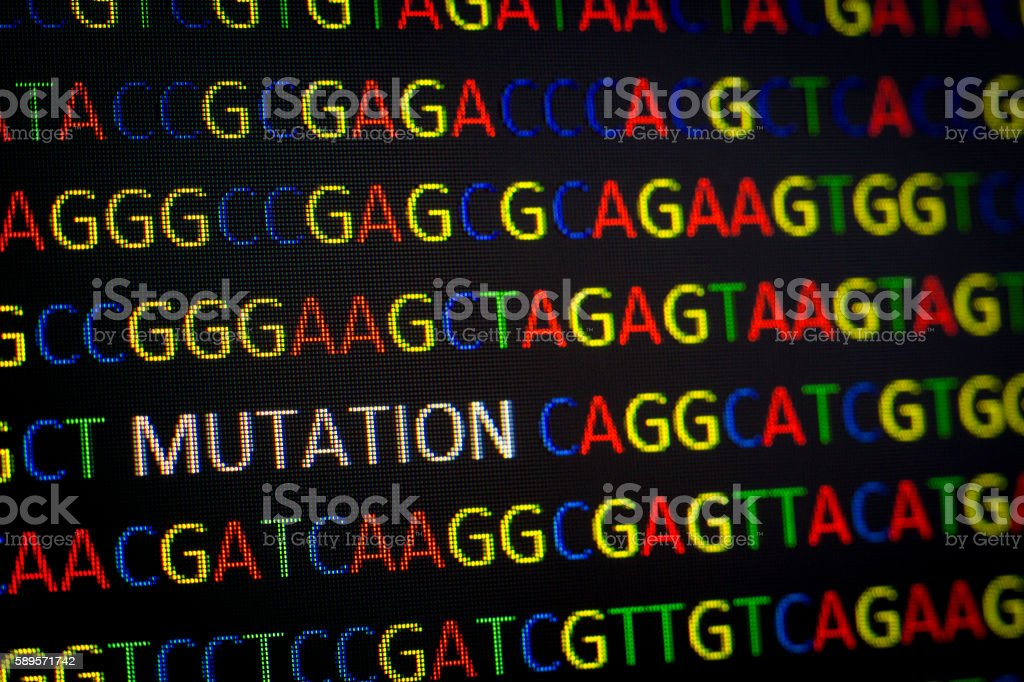 DNA sequence with colored letters on black background containing mutation stock photo