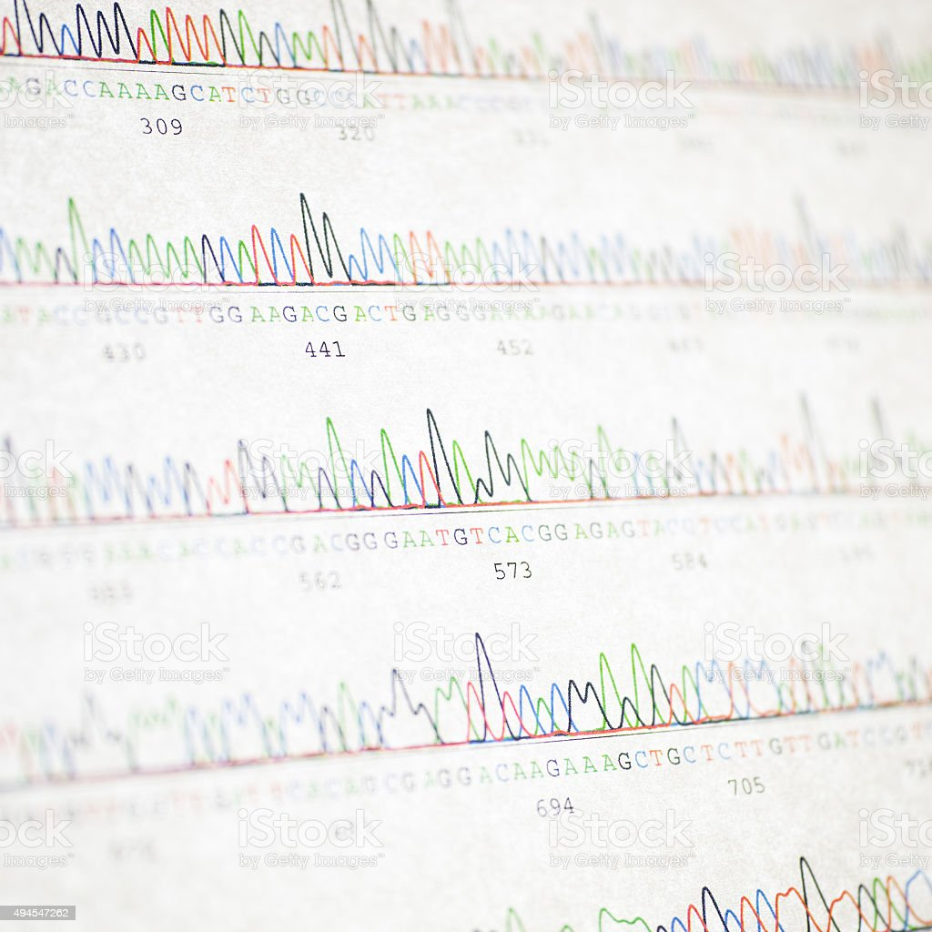 DNA sequencing result printout stock photo