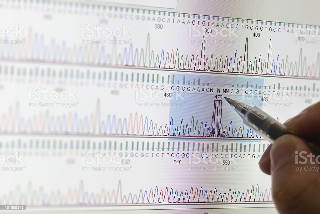 DNA Sequencing results stock photo