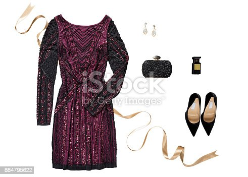 Sequin dress with personal accessories isolated on white background ( with clipping path)