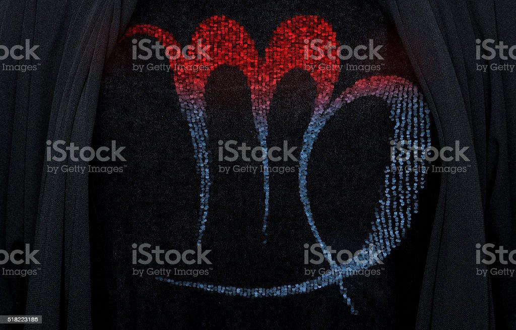 Sequin virgo embroidery stock photo