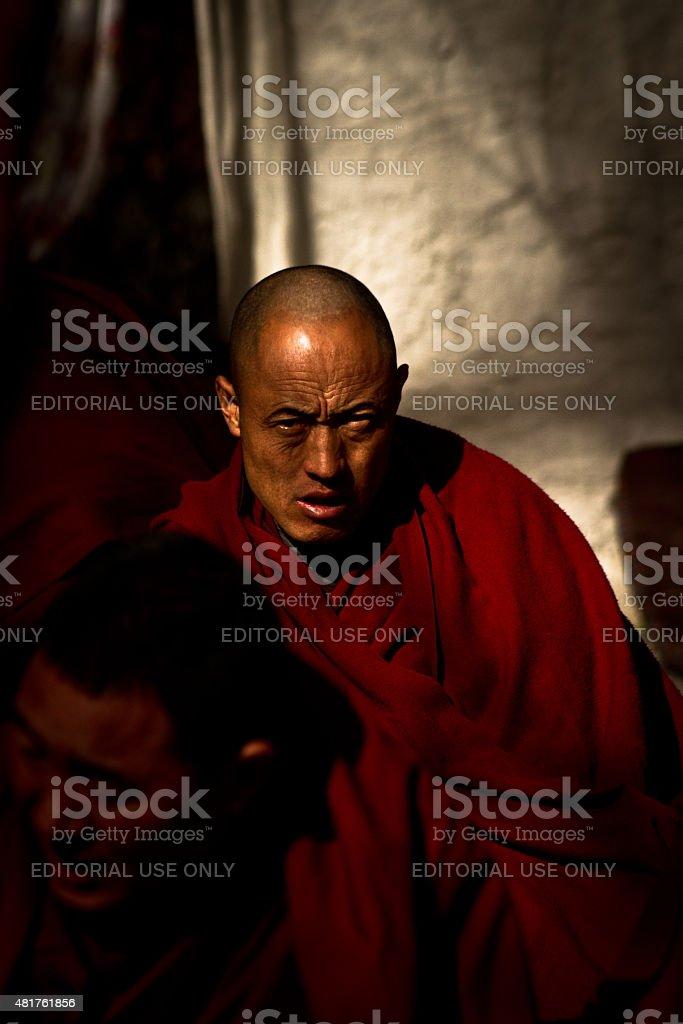 Sera Monastery Debating Monk of Lhasa Tibet stock photo