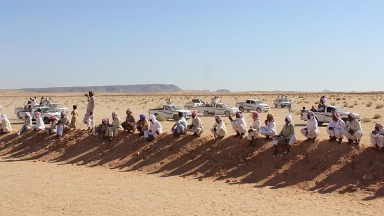 Serabit el Khadim, South Sinai Egypt - September 12 2020 Camel race people waiting and watching camels running