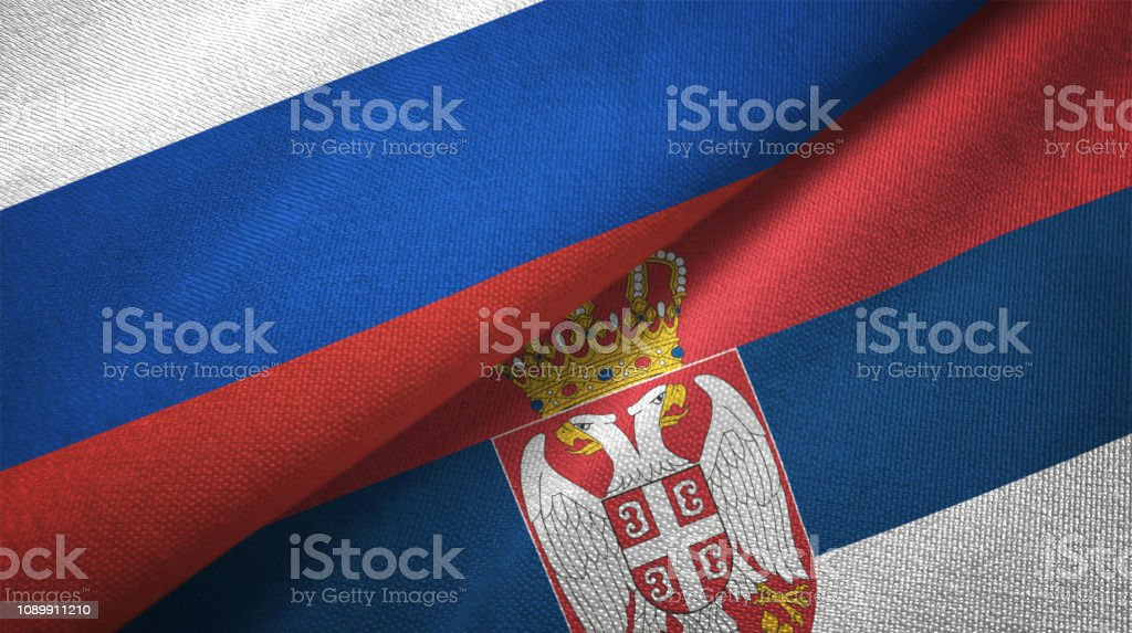 Serbia and Russia two flags together realations textile cloth fabric texture - fotografia de stock