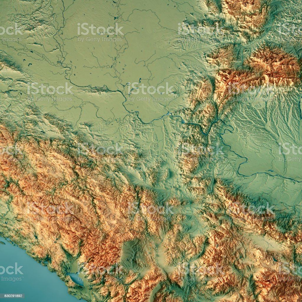 Serbia Country 3D Render Topographic Map stock photo