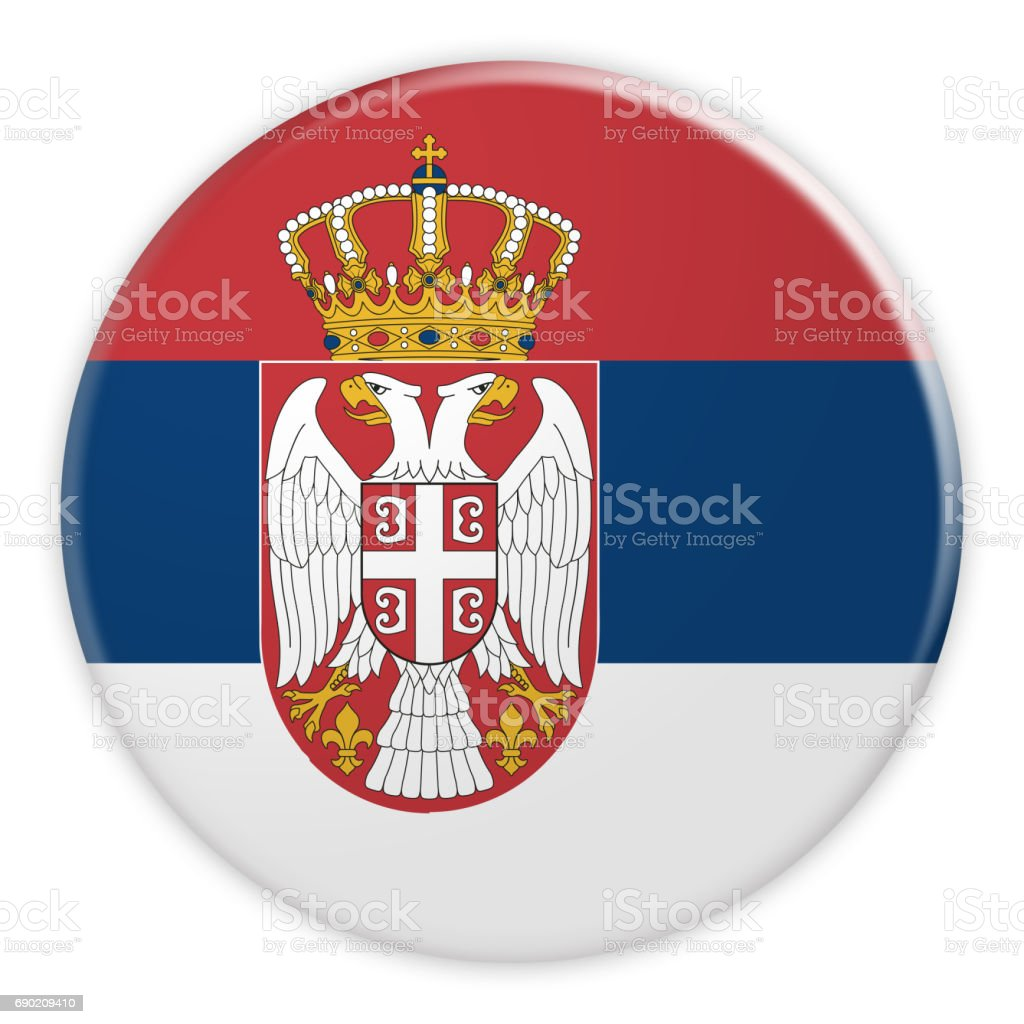 Serbia Flag Button, News Concept Badge, 3d illustration on white background - fotografia de stock