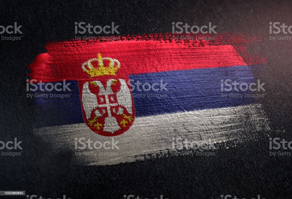 Serbia Flag Made of Metallic Brush Paint on Grunge Dark Wall - fotografia de stock
