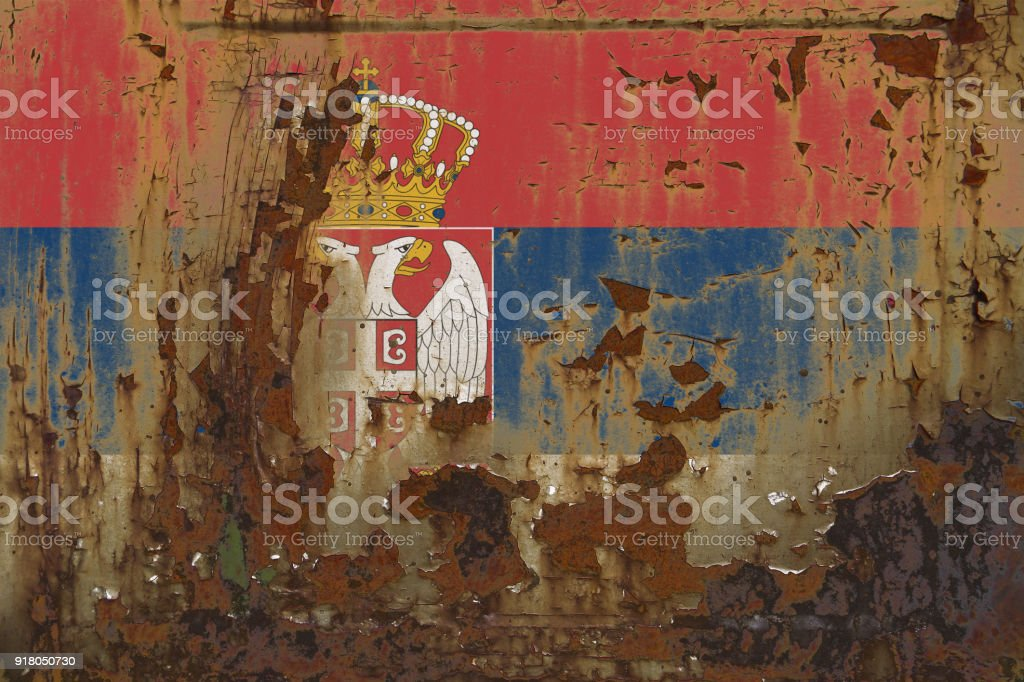 Serbia Flag on a Dirty Rusty Grunge Metallic Surface - fotografia de stock