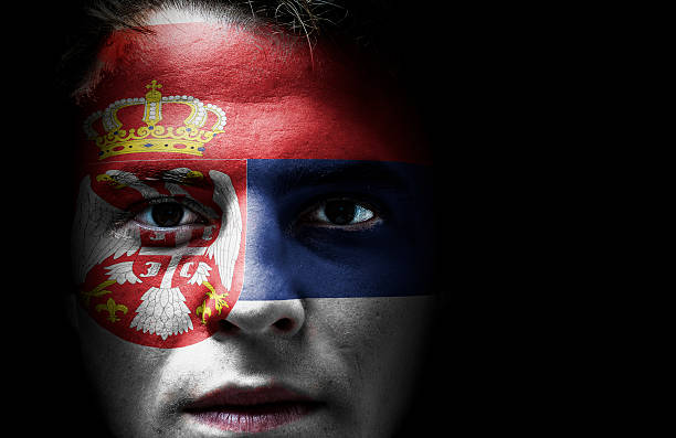 Image result for serbian boy with flag on face