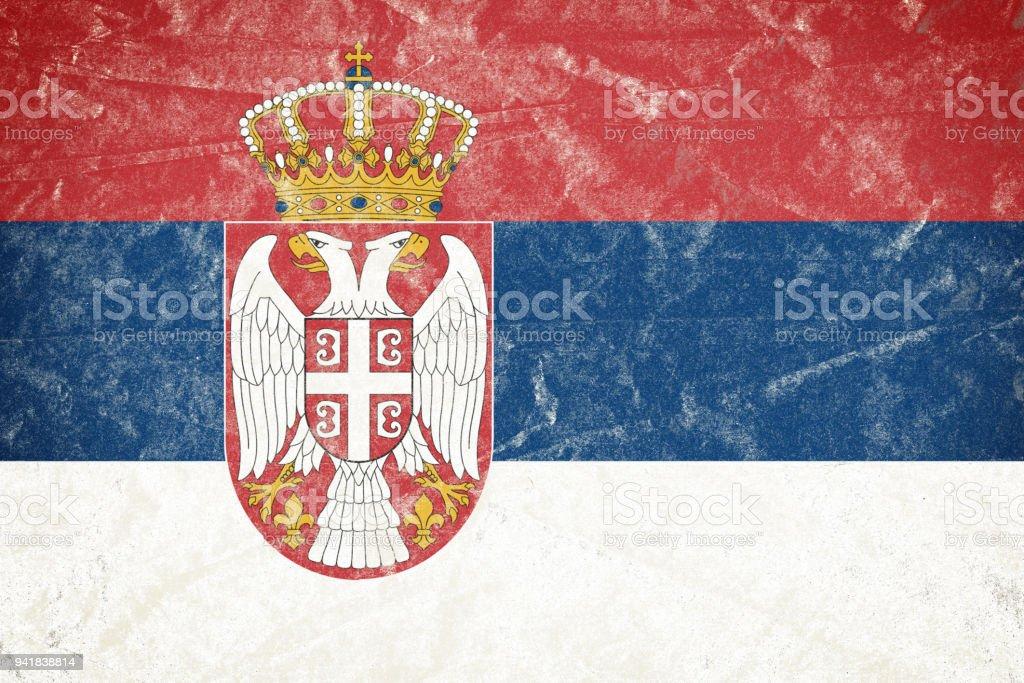 Bandeira da Sérvia Grunge desintegrado enrugado papel cartaz - foto de acervo