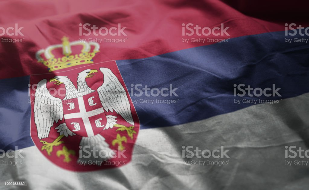 Serbia Flag Rumpled Close Up - fotografia de stock
