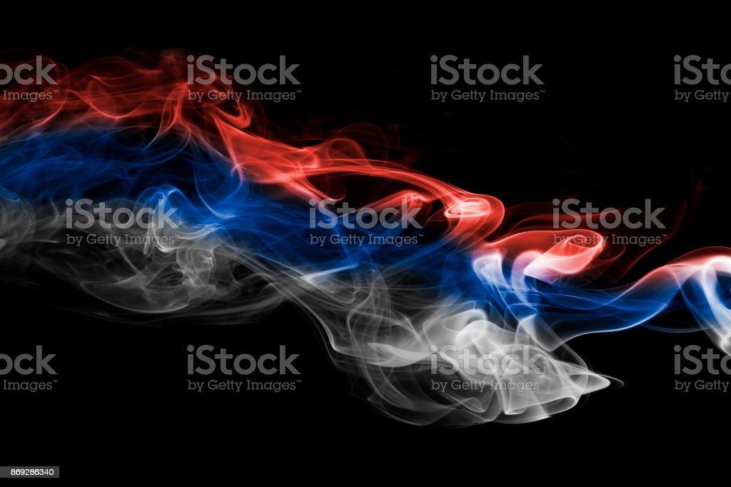 Serbia flag smoke - fotografia de stock