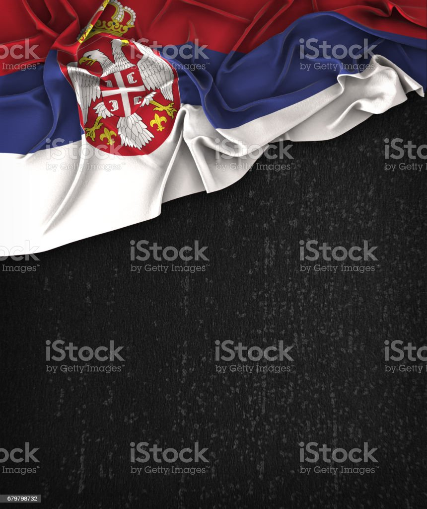 Serbia Flag Vintage on a Grunge Black Chalkboard With Space For Text - fotografia de stock