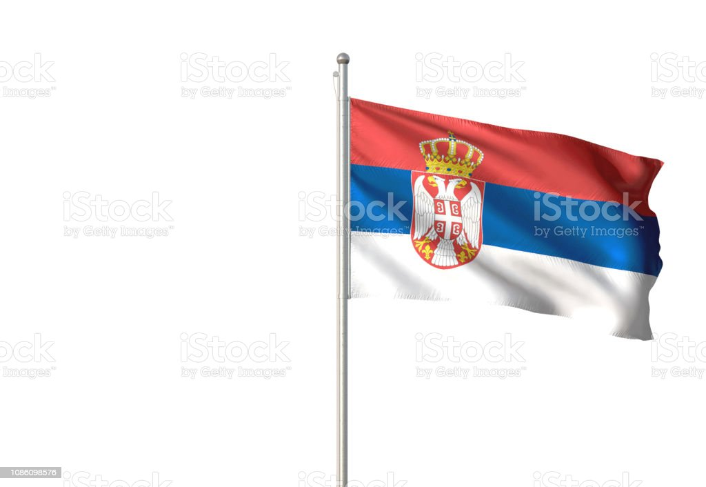 Serbia flag waving isolated on white background - fotografia de stock