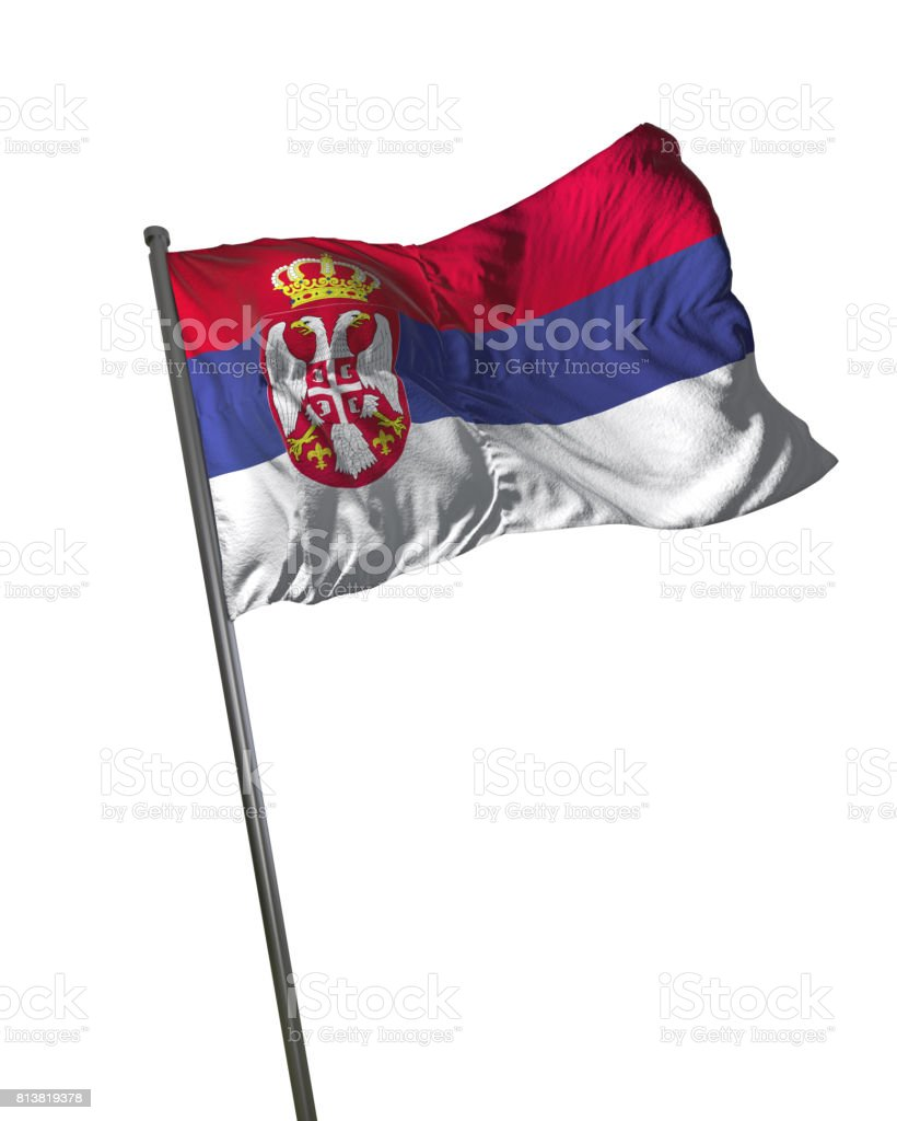 Serbia Flag Waving Isolated on White Background Portrait - fotografia de stock