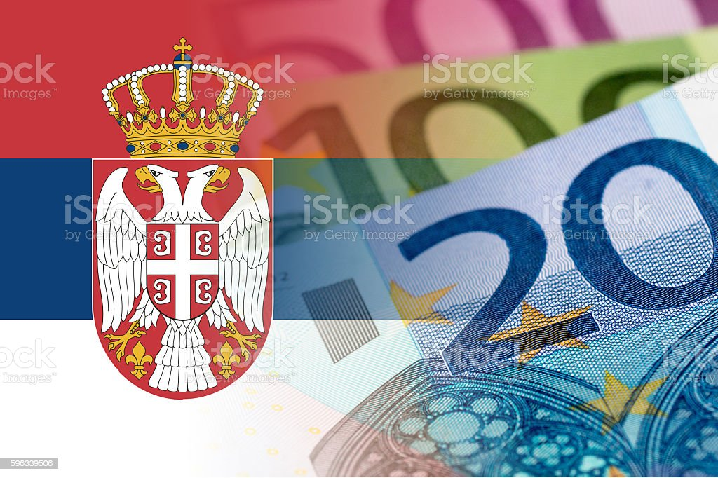 serbia flag with euro banknotes royalty-free stock photo