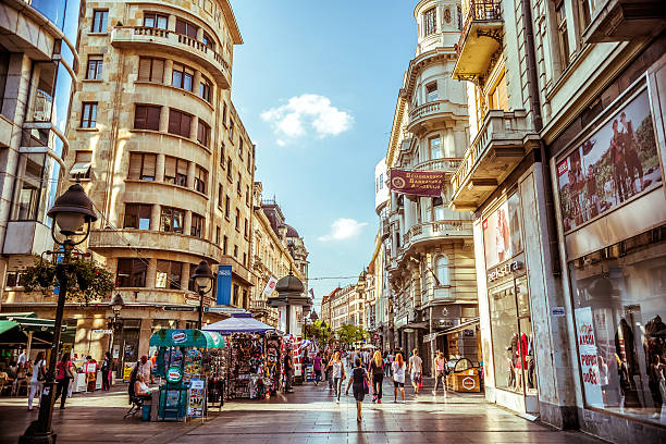 Serbia. Knez Mihailova Street, a main shopping mile of Belgrade. Belgrade, Serbia - September 23, 2015: Knez Mihailova Street. Street is the main shopping mile of Belgrade. Filtered photo with warm summer lighting. serbia stock pictures, royalty-free photos & images
