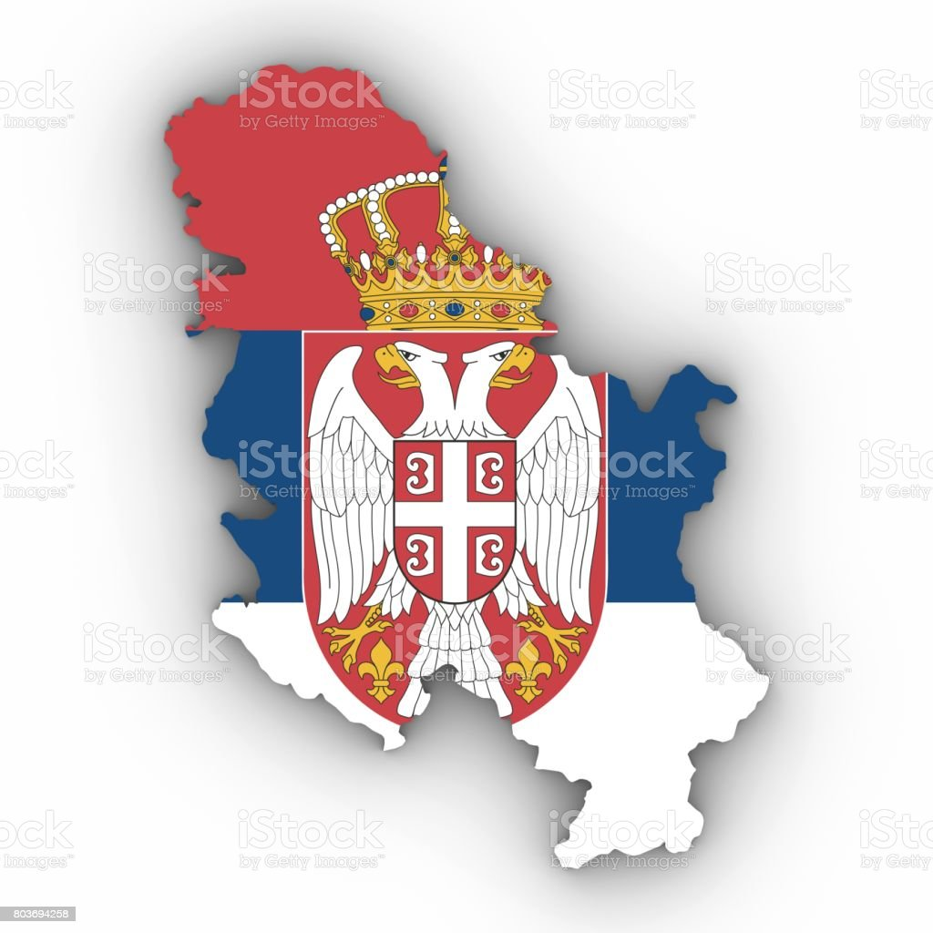Serbia Map Outline with Serbian Flag on White with Shadows 3D Illustration - fotografia de stock