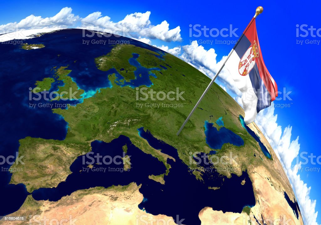 Serbia National Flag Marking The Country Location On World Map 3d