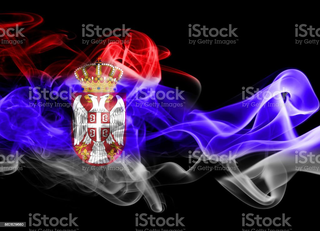 Serbia national smoke flag - fotografia de stock