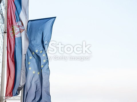 Picture of the flags of Serbia and the EU waiving in the air behind a sunny blue sky. The accession of Serbia to the European Union (EU) has been on the current agenda for the future enlargement of the EU since 2011, when it became a candidate for accession.