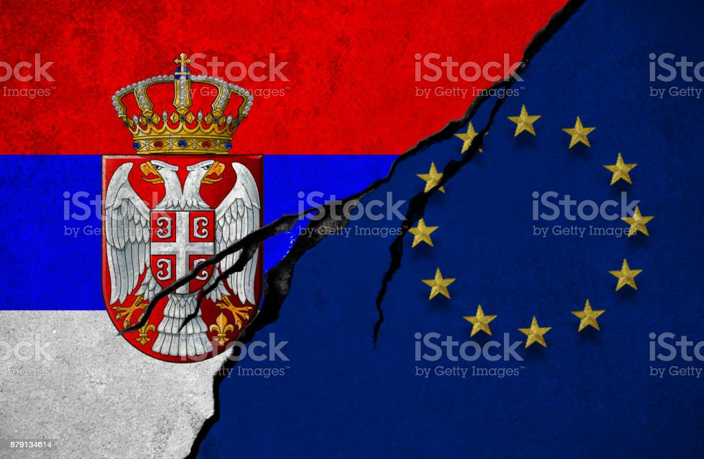 Serbian And European Union Flag Conflict Concept Stock Photo More