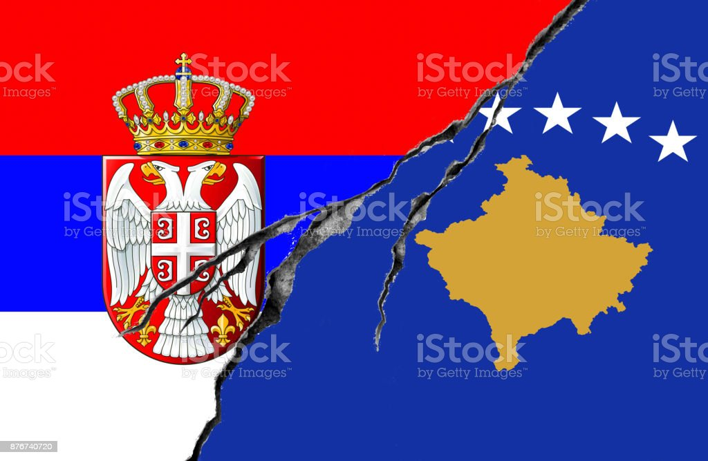 Serbian And Kosovo Flag Conflict Concept Stock Photo More Pictures