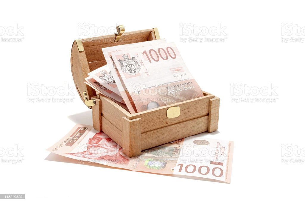 Serbian banknotes in the chest stock photo