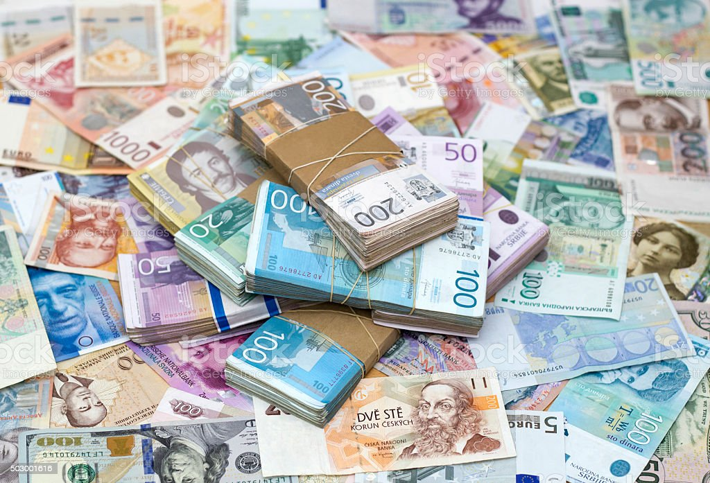 Serbian Dinar and another Currency stock photo