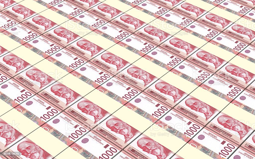 Serbian dinar bills stacks background. stock photo