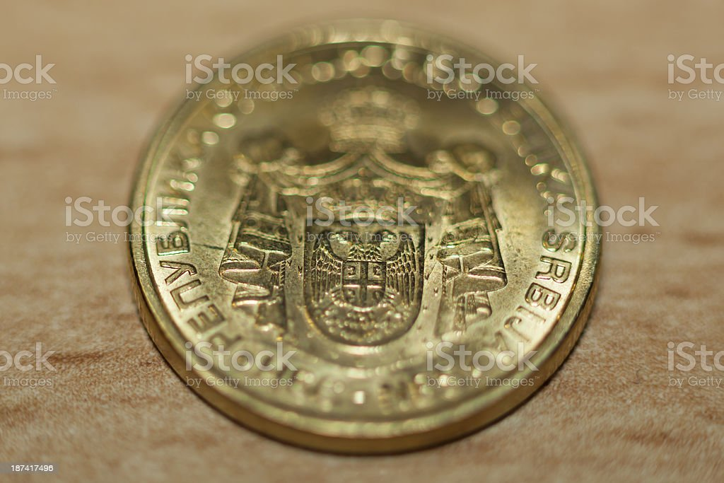 Serbian Dinar - coin money stock photo