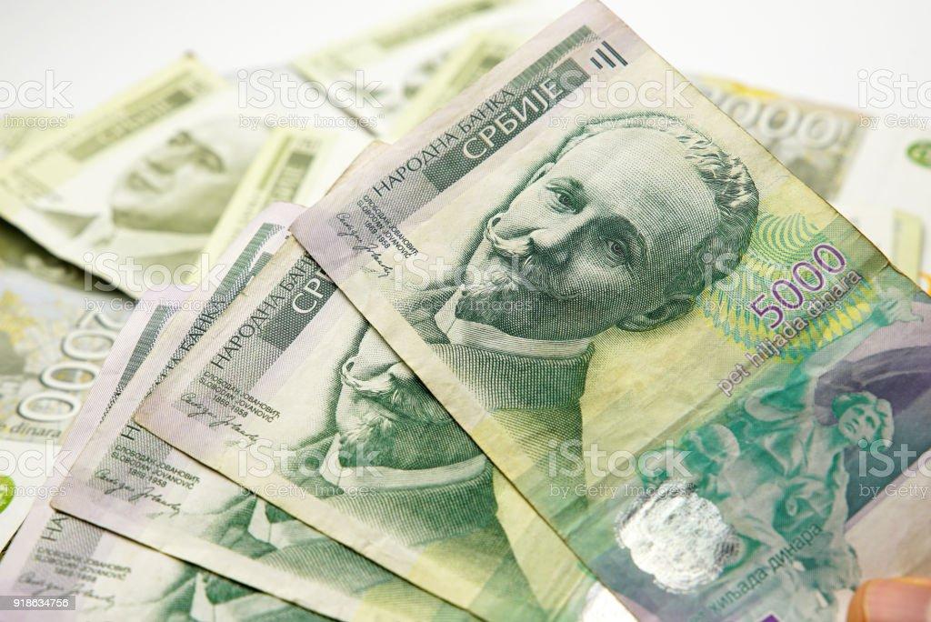 5000 Serbian Dinar Notes stock photo