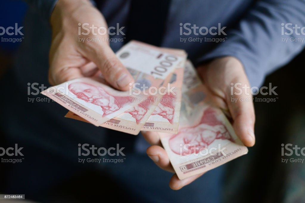 Serbian dinar paper currency, 1000 dinars value stock photo