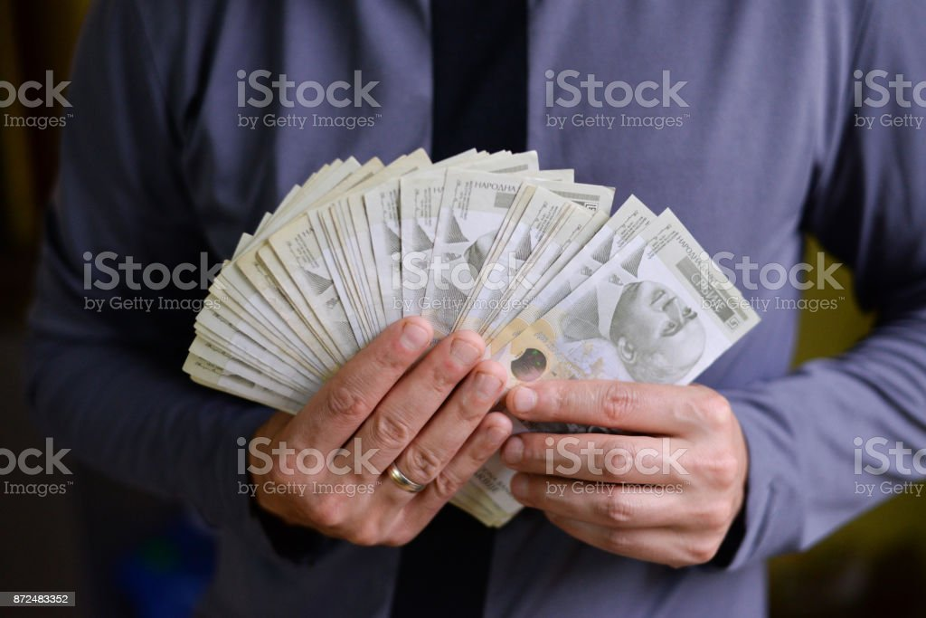 Serbian dinar paper currency, 2000 dinars value stock photo