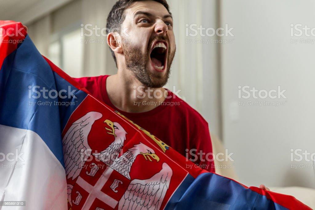 Serbian fan celebrating at home - Royalty-free Adulto Foto de stock