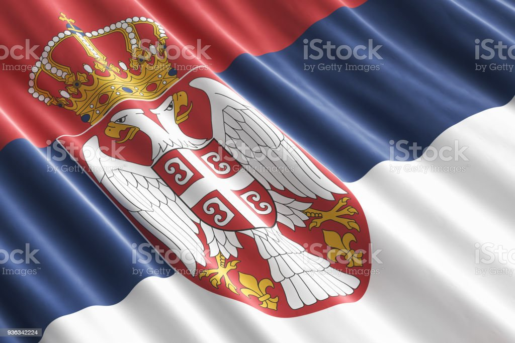 Serbian flag background, 3D rendering - fotografia de stock