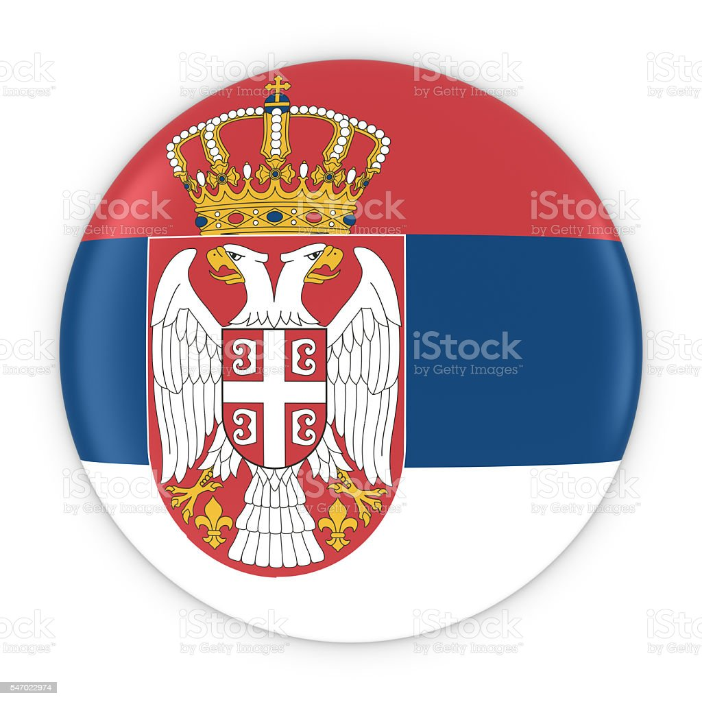 Serbian Flag Button - Flag of Serbia Badge 3D Illustration - fotografia de stock