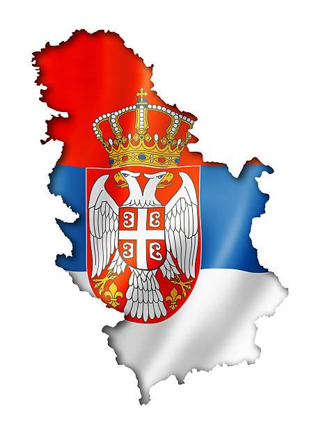 Serbian flag map stock photo