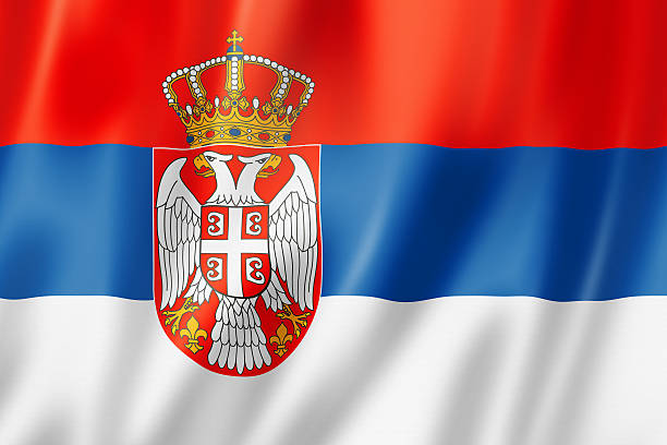 serbian flag - serbia stock photos and pictures
