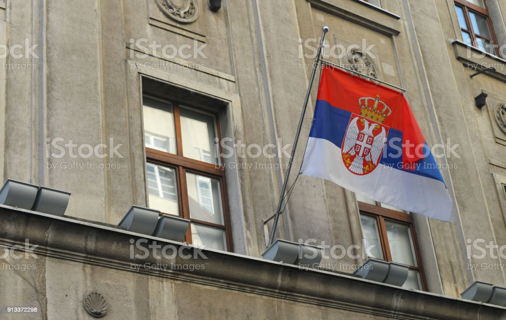 Serbian national flag - fotografia de stock