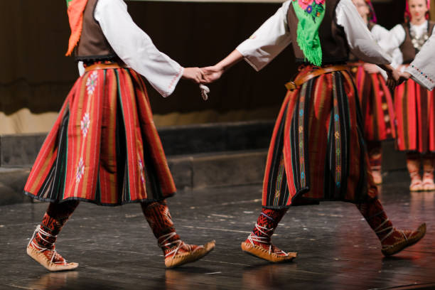 serbian national folklore dancing kolo - serbia stock photos and pictures