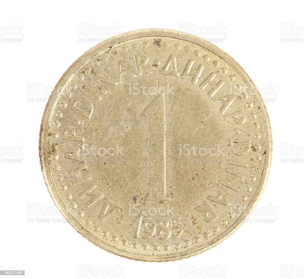 Serbian one dinar coin. stock photo