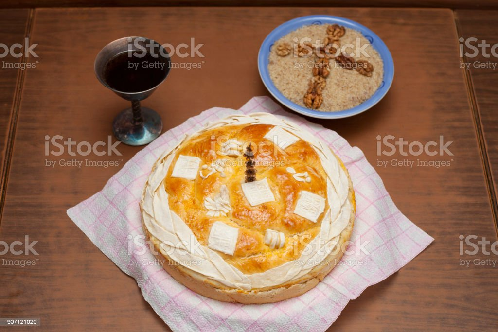 Serbian slava bread with red wine stock photo