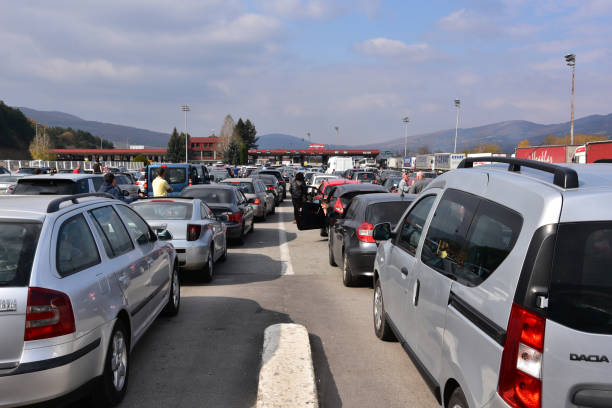 Serbian state border check-point Kalotina, Bulgaria - October 20, 2018: Mile long lines of cars waiting hours before Serbian state border check-point to enter the country serbia stock pictures, royalty-free photos & images