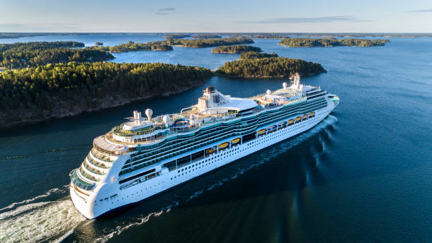 Serenade of the Seas Cruiser Ship passing by in the Stockholm Swedish archipelago stock photo