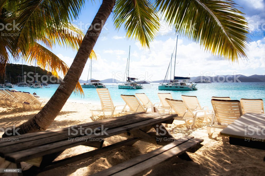 Serene Beach with Yachts, Picnic Table and Palm Trees stock photo